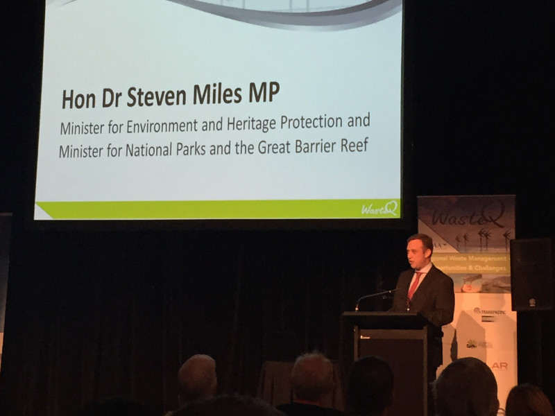 Qld Environment Minister Steven Miles speaking at WasteQ