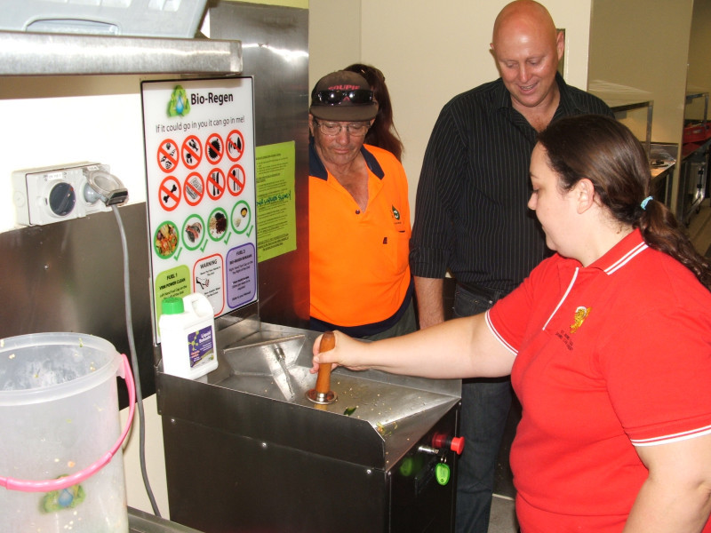 JCU kitchen staff using the BioRegen unit, being trained by Ken Bellamy of VRM