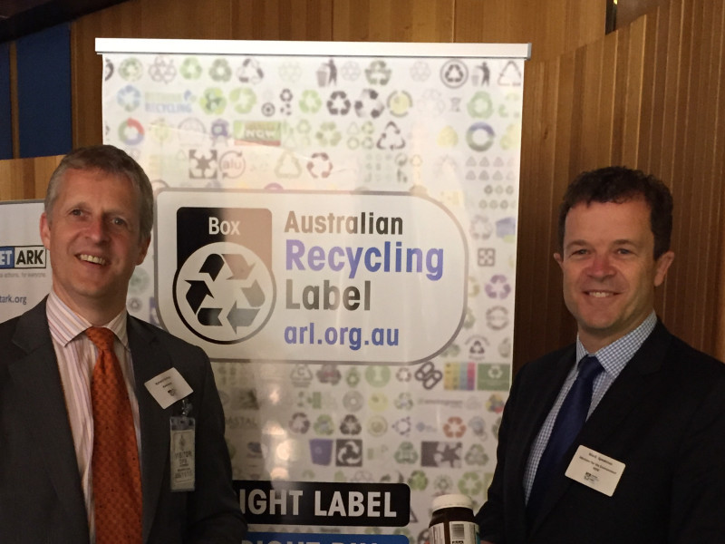 NSW Environment Minister Mark Speakman (right) with Richard Henfrey, Chief Operating Officer of Blackmores, launching the Australian Recycling Labell