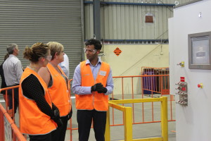 PGM Chief Technology Officer Karvan Jayaweera explains how the BluBox works to Minister Lisa Neville and Member for Dandenong Gabrielle Williams