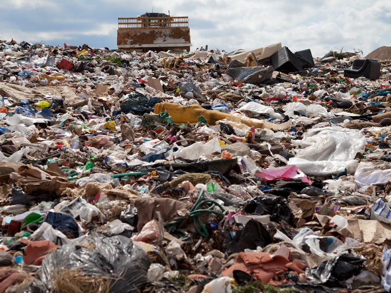 A landfill site full of waste product