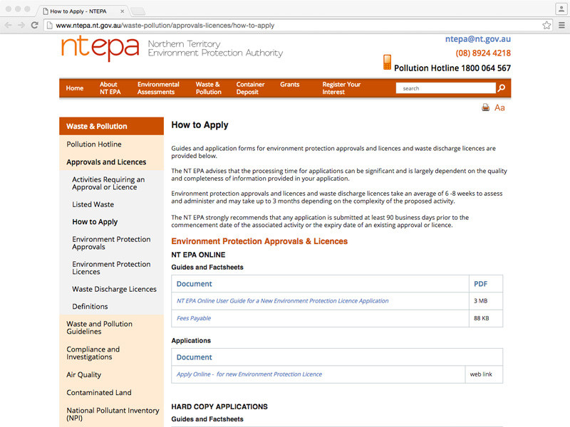 Northern Territory EPA upgrades online processes