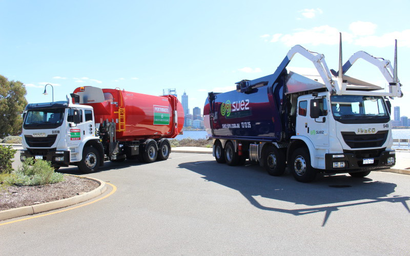 Perthwaste and Suez trucks at the announcement of the acquisition