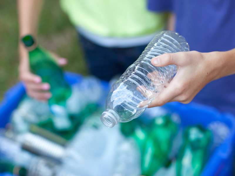 Plastic bottles and packaging for recycling