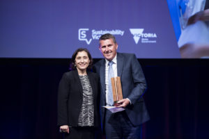 VIC Environment Minister Lily D'Ambrosio with Crown Melbourne's Craig Morris – General Manager Crown Property Services