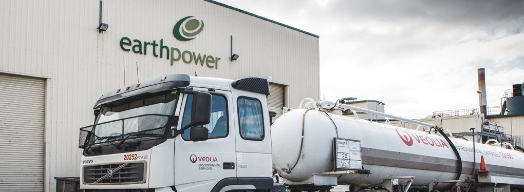 A Veolia waste truck outside the EarthPower food waste to energy plant, Camellia, NSW