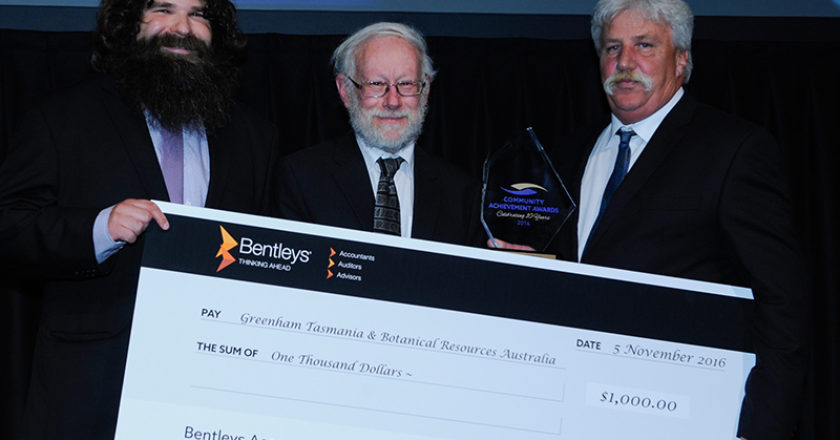 Warren Jones (centre), Chair of the EPA Board presenting the EPA Sustainability Award 2016 to Ray Howe, Production Manager, BRA and Robert Cox, Plant Manager, Greenham Tasmania