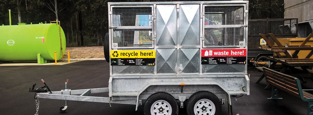 One of East Gippsland Shire Council's waste innovations - an 8 cubic metre split waste and recycling trailer bin