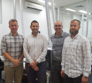 Simon Mills and David Springer from Envirolab Group, Professor Michael Breadmore from University of Tasmania and Adam Gaudry on far right from KD Analytical Australia