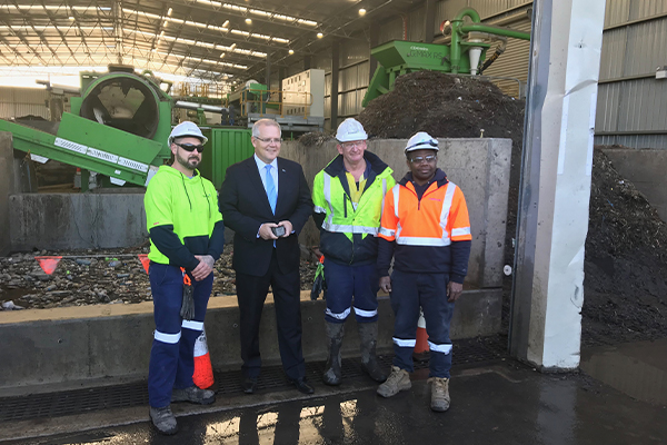 Scott Morrison visits Downer CDEnviro recycling facility