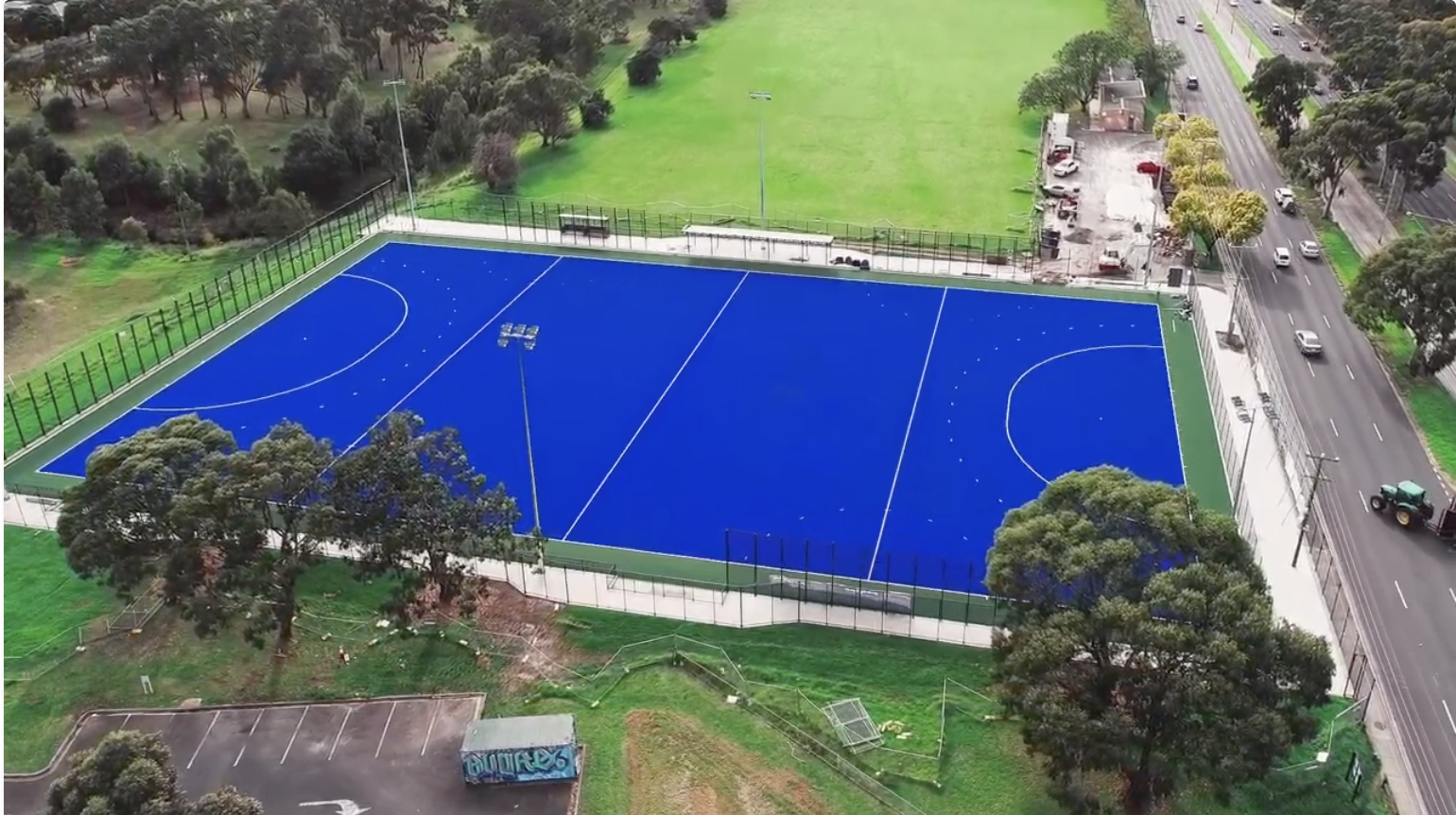 Hockey field showcasing recycled material potential