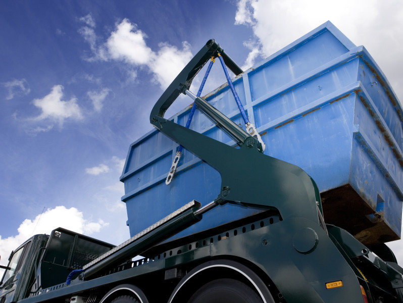 Skips for taking away waste from buildings