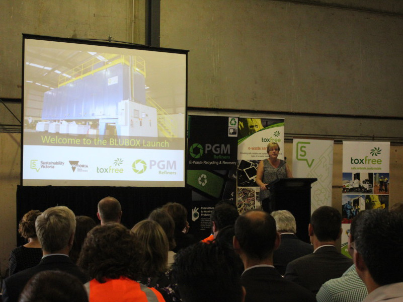 Victoria Environment Minister Lisa Neville launching the BluBox at PGm Refiners, Dandenong