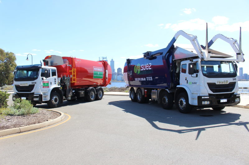 A Suez truck with a Perthwaste truck following the acquisition announcement